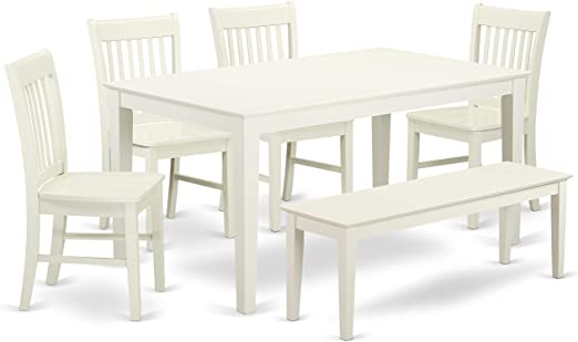 Amazon.com - East West Furniture CANO6-LWH-W Wooden Dining Table .