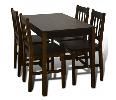 Wooden Dining Table with 4 Chairs Brown | vidaXL.c
