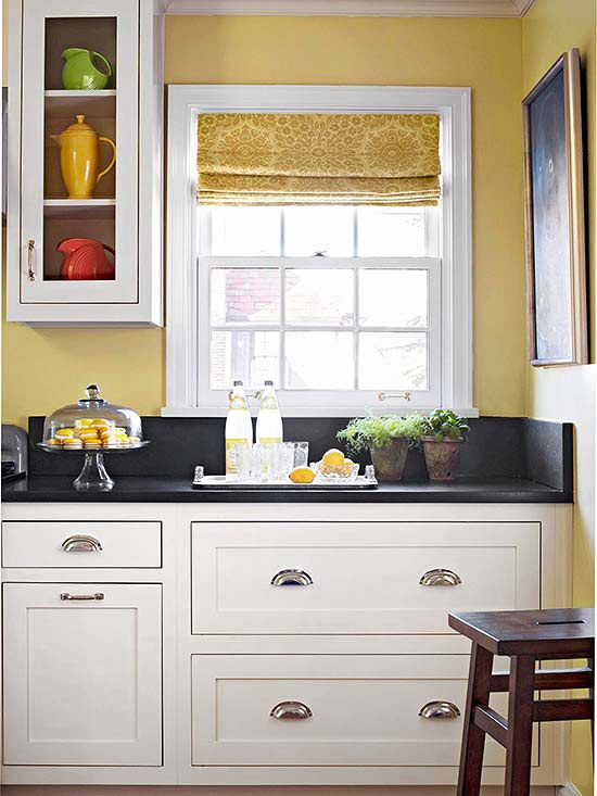 Yellow and White Kitchen Cabinets Ideas